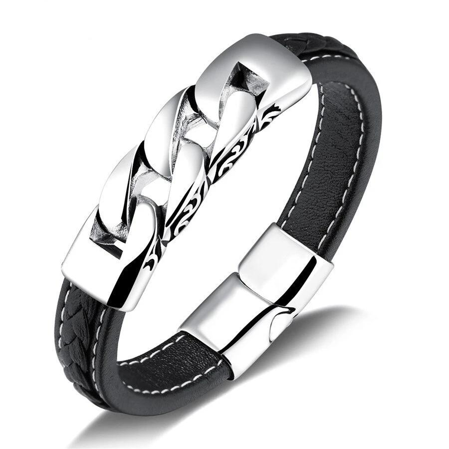 Men's Genuine Leather Rope Chain Stainless Steel Bracelet