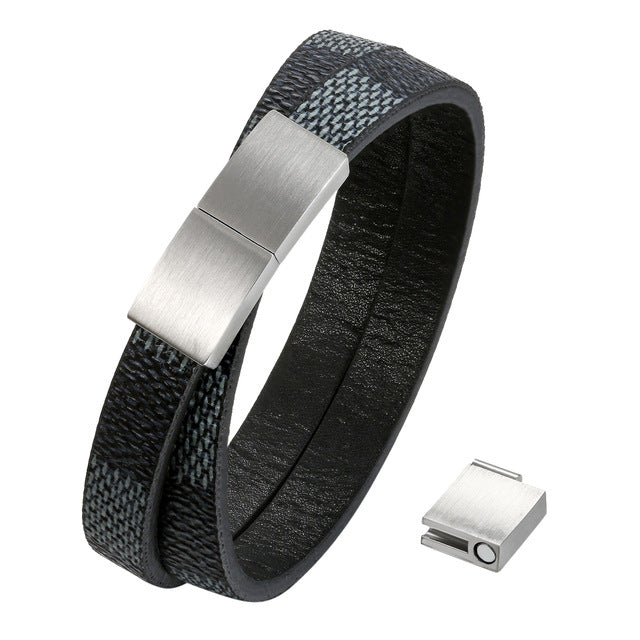 Men's Double Layer Leather Bracelet With Magnetic Clasp