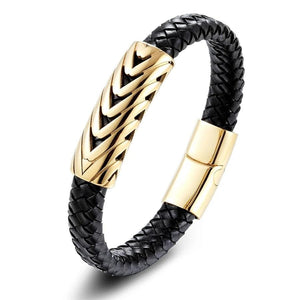 Men's Serpentine Leather Arrow Gold Bangle Bracelet