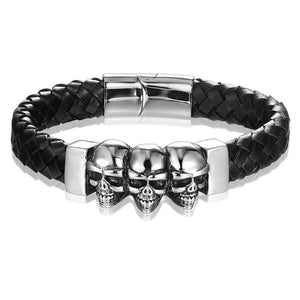 Men's Genuine Leather Three Skull Stainless Steel Bracelet