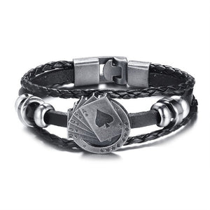 Men's Vintage Leather Poker Bracelet