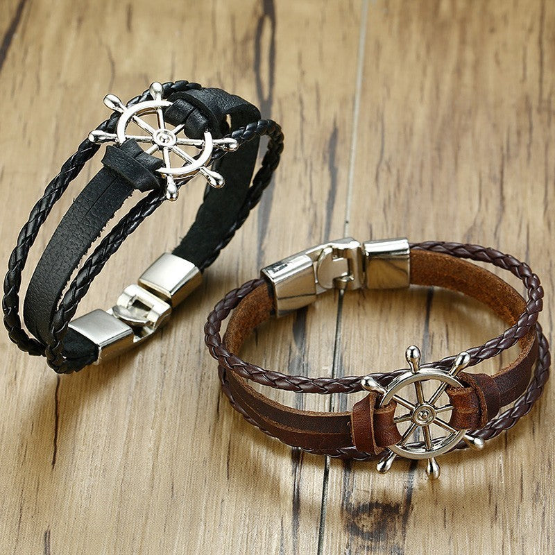 Ship's Wheel Multi-Layer Leather Bracelet