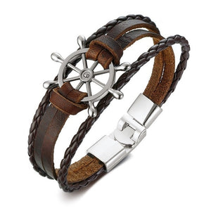 Men's Vintage Rudder Multi-Layer Leather Bracelet