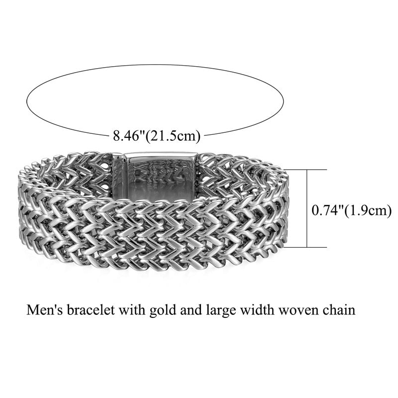 Men's Large Woven Stainless Steel Bracelet