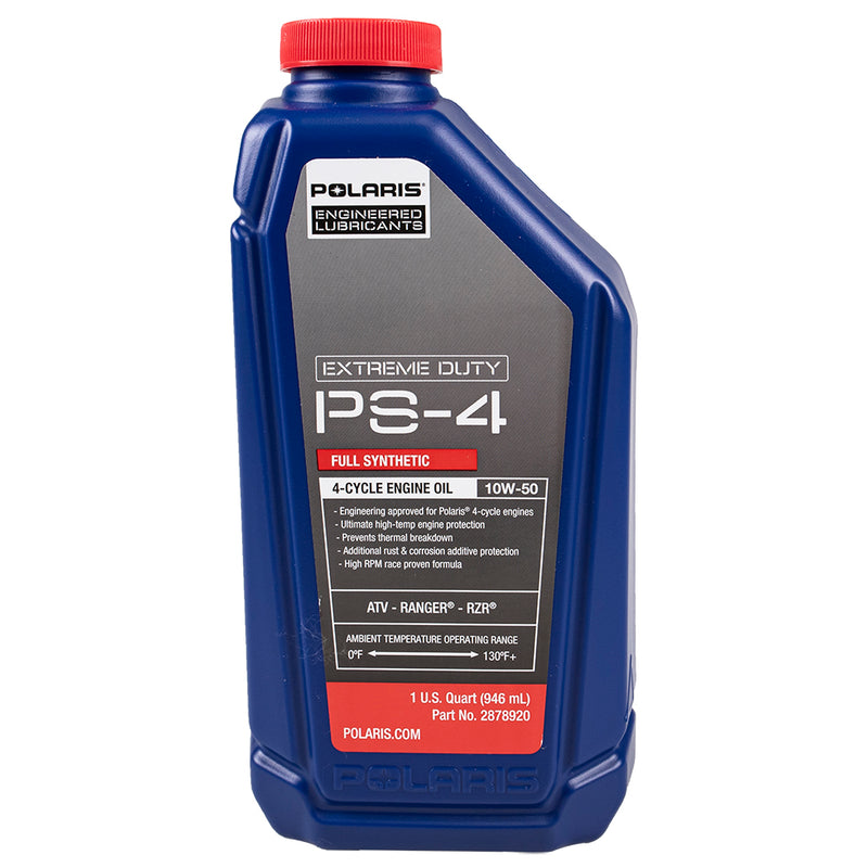 Polaris Genuine OEM 1 Quart PS-4 Extreme Duty Full Synthetic Oil 10W-50 4-Cycle For Ranger RZR General 2878920 (4208743678033)