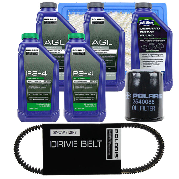 Polaris 2 Quarts PS-4 Oil Fluid Change Kit w/Air Filter & Drive Belt Ranger 570 (4408922472529)