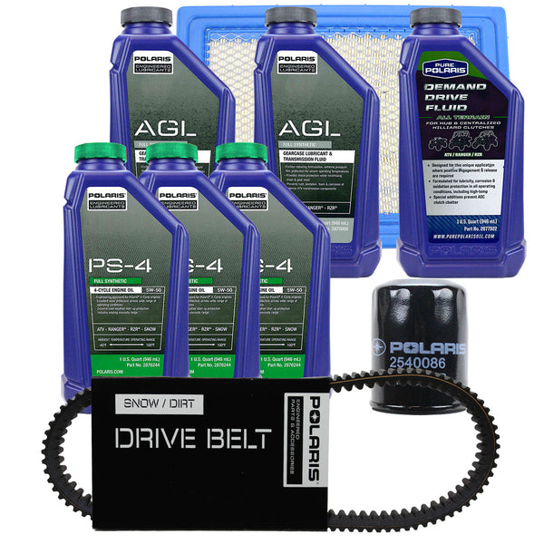 Polaris 3 Quarts PS-4 Oil Fluid Change Kit w/Air Filter & Drive Belt Ranger 900 (4408922439761)