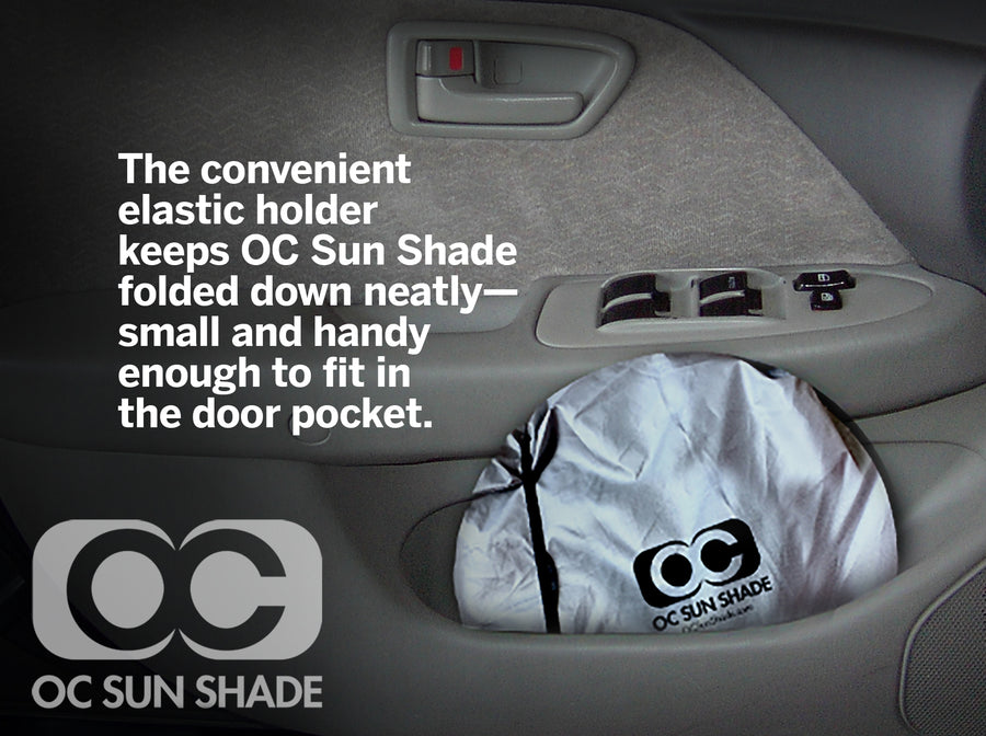 OC Sun Shade packs small easily stores in door pocket or between seats