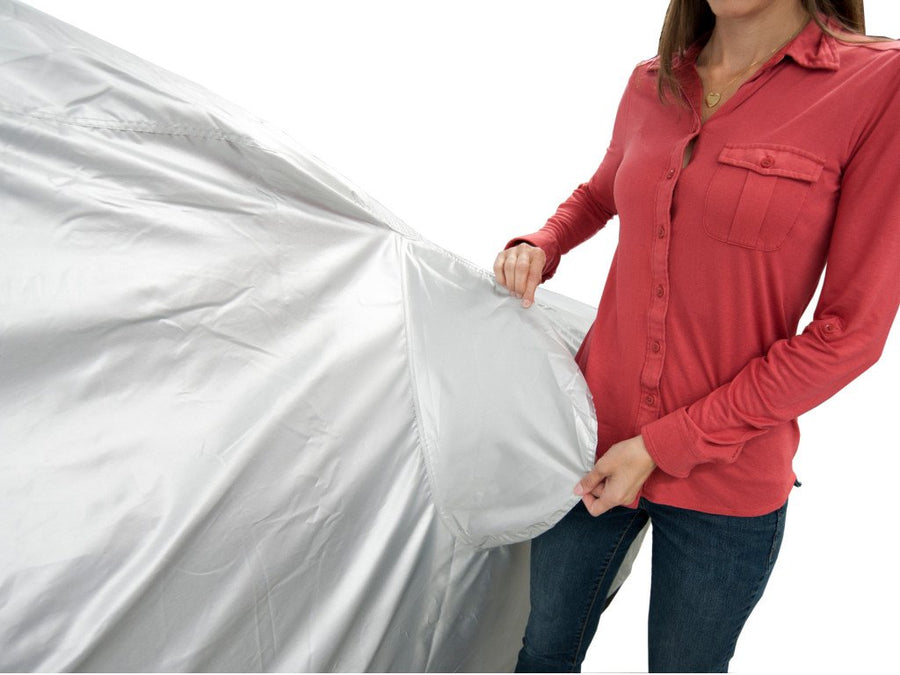 Outdoor and Indoor Select-Fit Car Cover Kit UV Reflecting Water Resistant and Washable. Includes 3 wind straps storage bag and lock