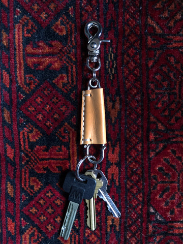 Leather Wrapped Pin Keychain