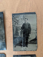 Ensemble de 3 photos antiques sur métal /  3 Old Photo Plate metal plate photography antique