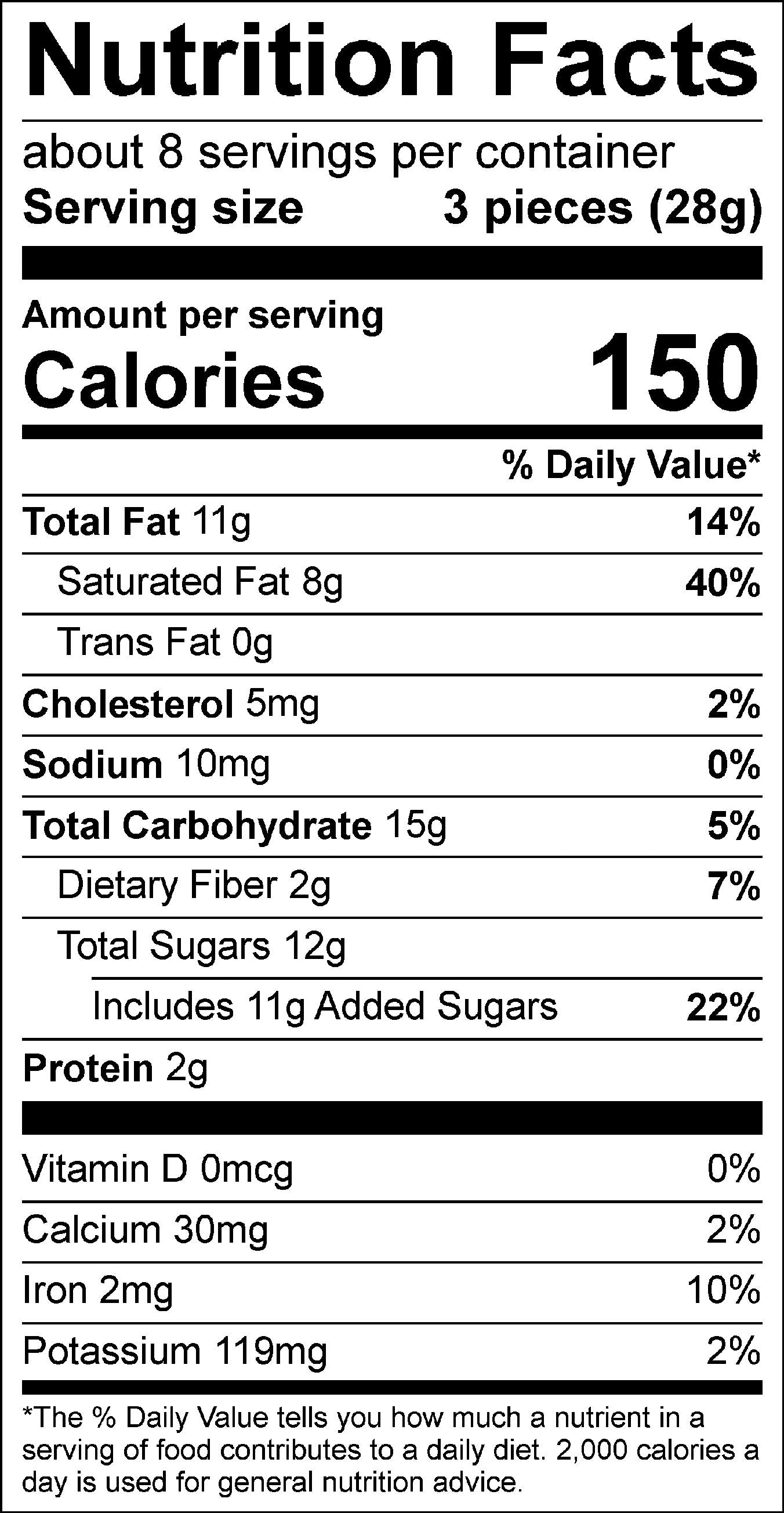 Boughs of Chocolate Gift Box Nutrition Facts