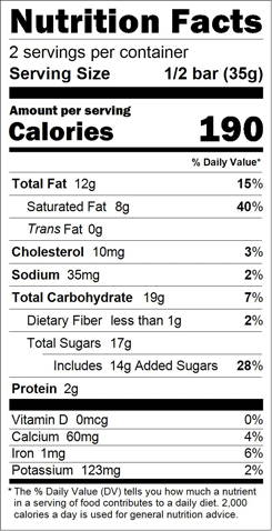 Campers' S'Mores Truffle Bar Nutrition Facts