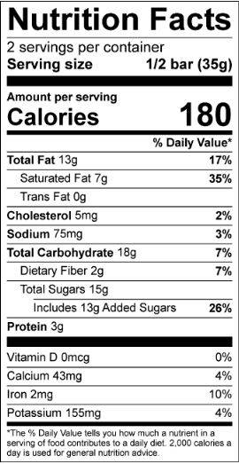 Double Chocolate Trail Mix Truffle Bar Nutrition Facts