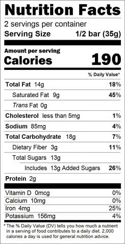 You're My Hero Truffle Bar Nutrition Facts