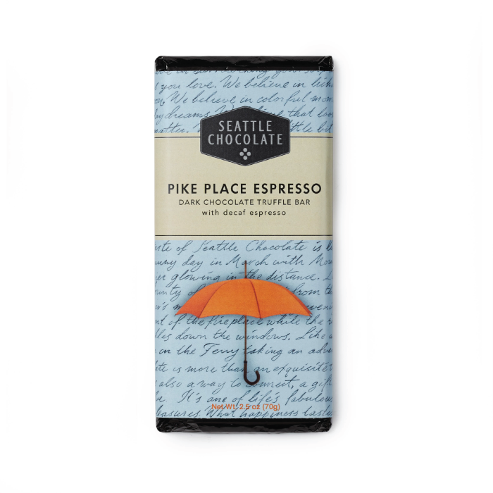 Dark chocolate Pike Place Espresso truffle bar by Seattle Chocolate