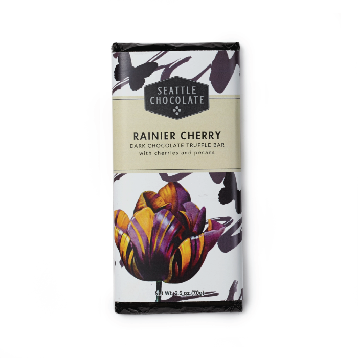 Dark chocolate Rainier Cherry truffle bar by Seattle Chocolate