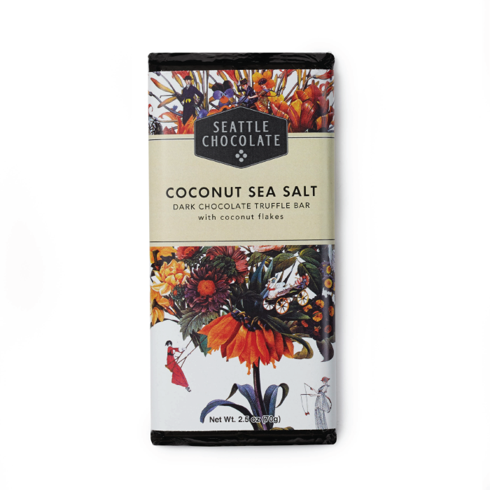 Dark Chocolate Coconut Sea Salt Truffle Bar by Seattle Chocolate