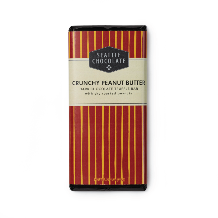 Dark chocolate Crunchy Peanut Butter truffle bar by Seattle Chocolate