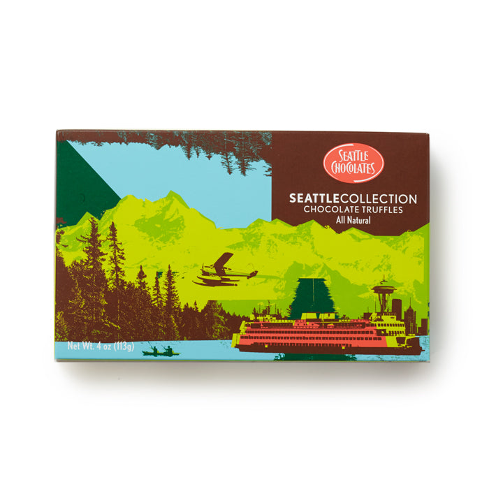 Chocolate truffles in a Northwest themed Box from Seattle Chocolates
