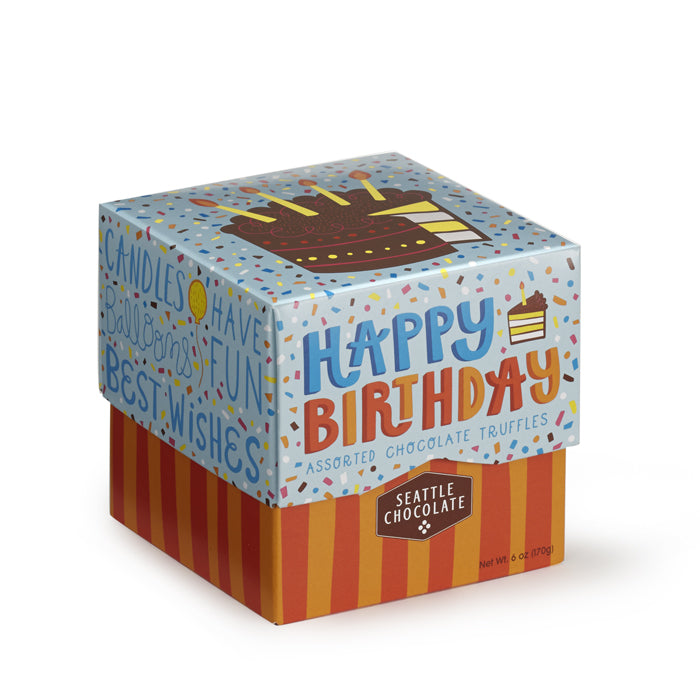 Chocolate truffles, 6 flavors in a delightful happy birthday box from Seattle Chocolates