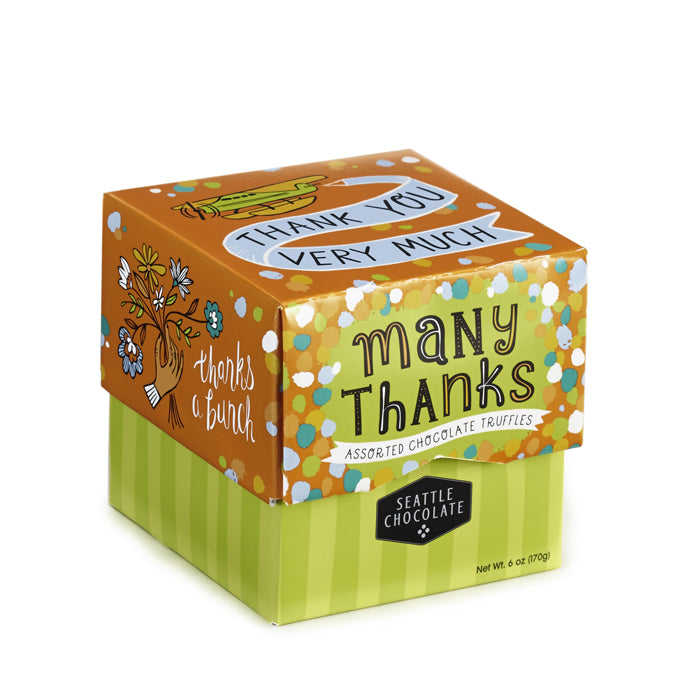 Chocolate truffles, 12 flavors in a terrific Thanks-olate Box from Seattle Chocolates