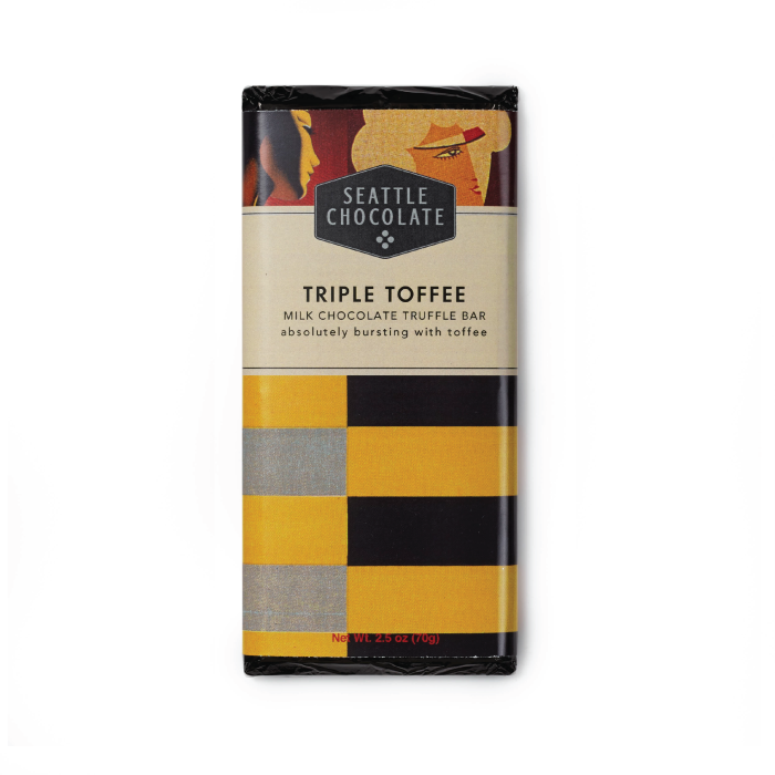 Milk chocolate Triple Toffee truffle bar by Seattle Chocolate