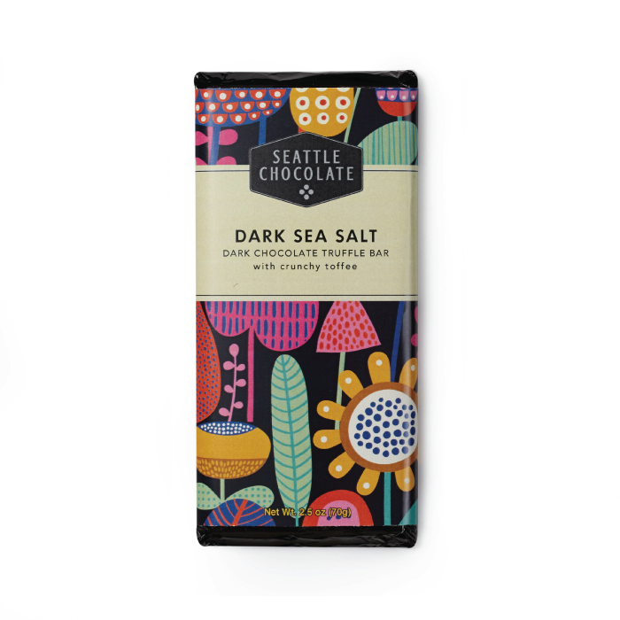 Dark Chocolate Sea Salt Toffee truffle bar by Seattle Chocolate