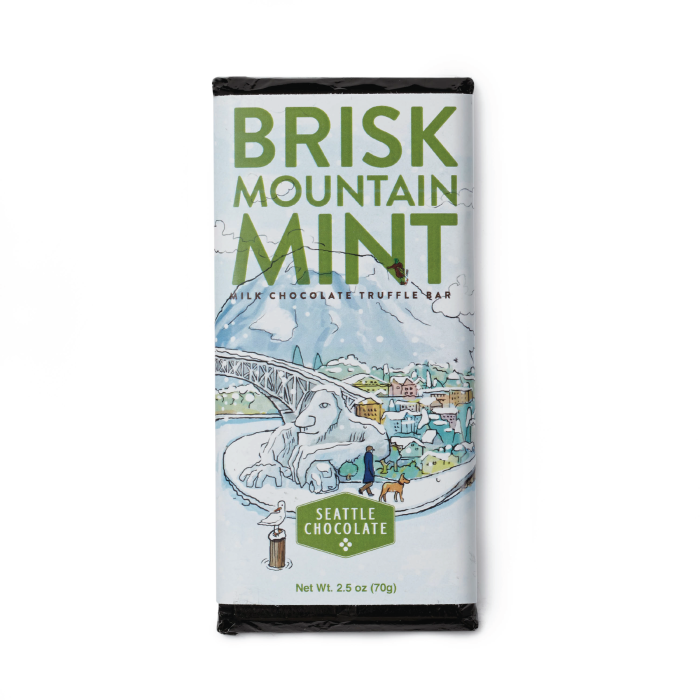 Brisk Mountain Mint milk chocolate truffle bar by Seattle Chocolate