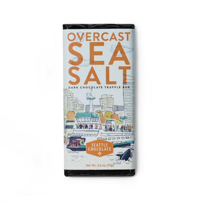 Overcast Dark Chocolate Sea Salt Toffee truffle bar by Seattle Chocolate