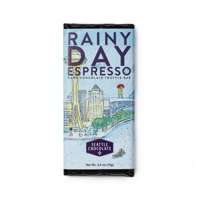 Dark chocolate Rainy Day Espresso truffle bar by Seattle Chocolate
