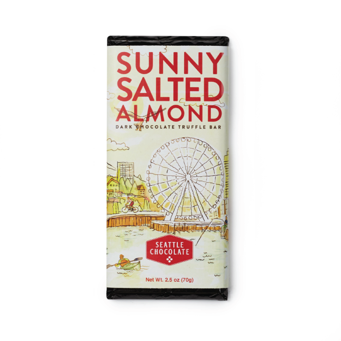 Dark chocolate Sunny Salted Almond truffle bar by Seattle Chocolate