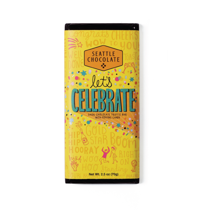 Dark chocolate Let's Celebrate truffle bar by Seattle Chocolate