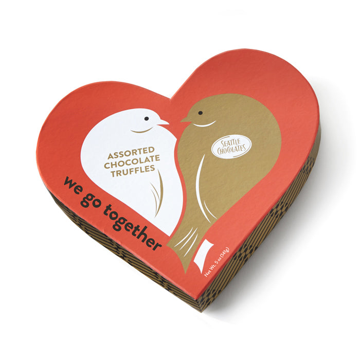 Love Birds Chocolate Truffle Heart Box by Seattle Chocolates