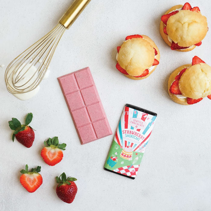 White Chocolate Strawberry Shortcake truffle bar by Seattle Chocolate
