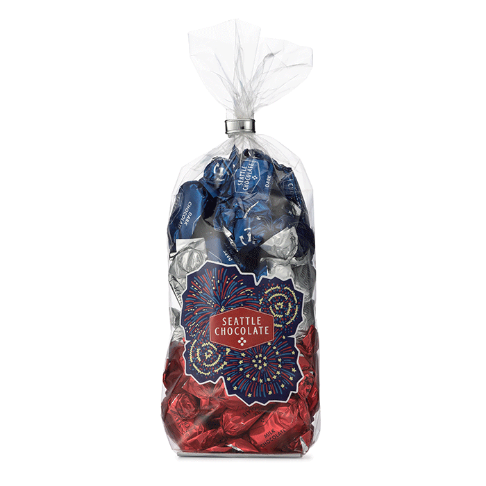 Seattle Chocolate Stars and Stripes truffle gift bag