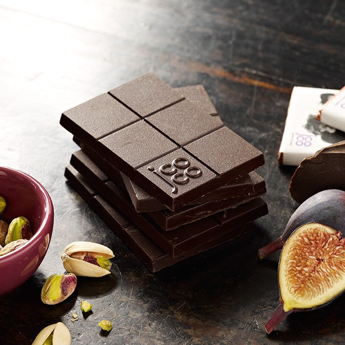 jcoco Black Fig Pistachio bar in dark chocolate
