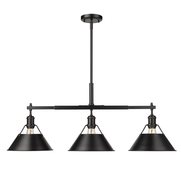 Golden 3306-LP BLK-BLK Orwell Three Light Linear Pendant