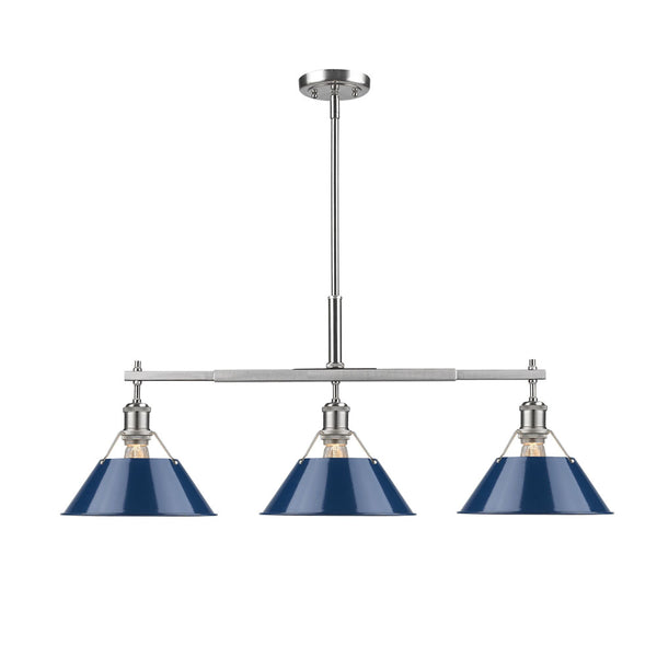 Golden 3306-LP PW-NVY Orwell Three Light Linear Pendant