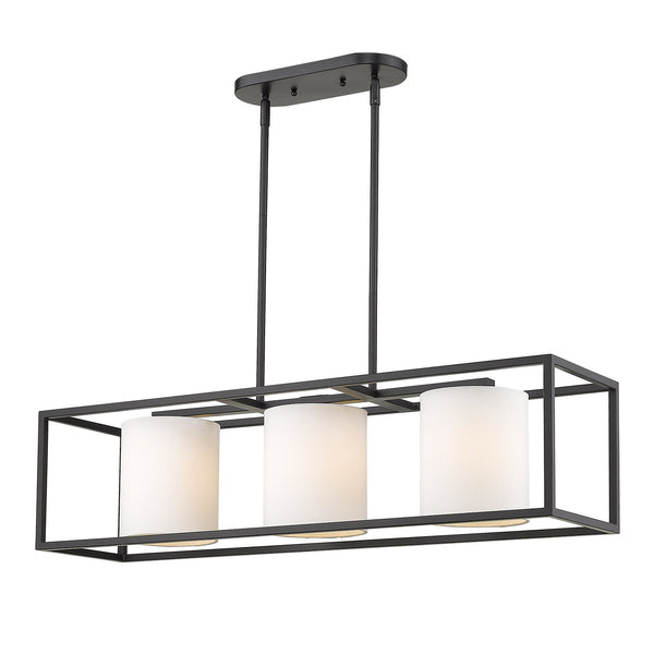 Golden 2243-LP BLK-MWS Manhattan Three Light Linear Pendant