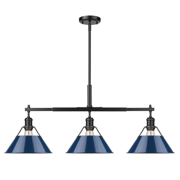 Golden 3306-LP BLK-NVY Orwell Three Light Linear Pendant