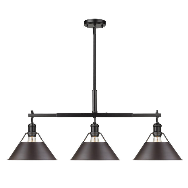 Golden 3306-LP BLK-RBZ Orwell Three Light Linear Pendant
