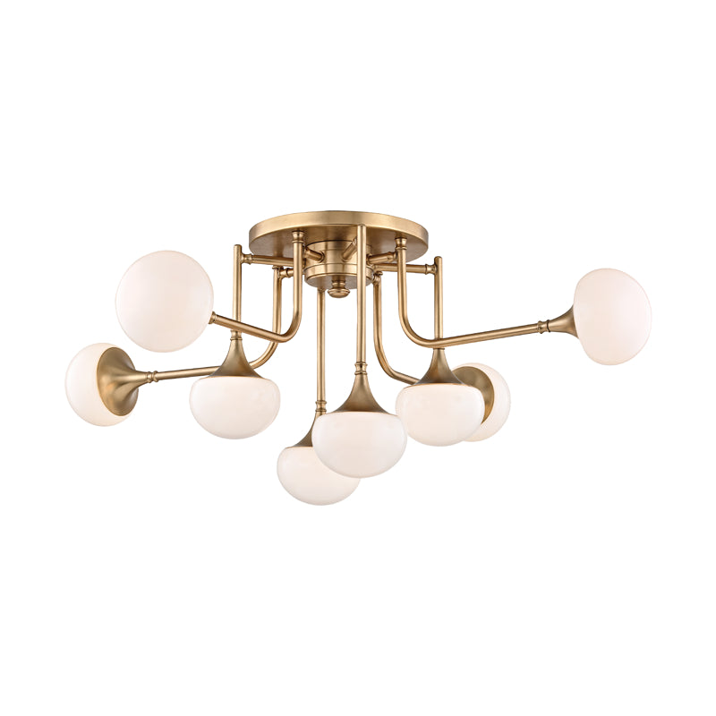 Hudson Valley 4708-AGB Fleming Eight Light Semi Flush Mount