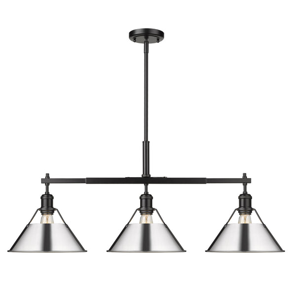 Golden 3306-LP BLK-CH Orwell Three Light Linear Pendant