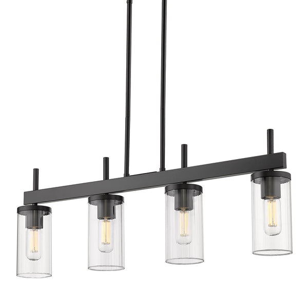 Golden 7011-LP BLK-CLR Winslett Four Light Linear Pendant