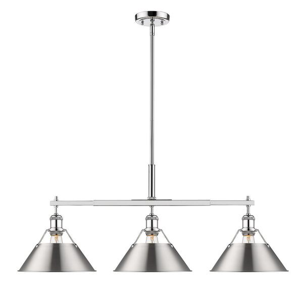 Golden 3306-LP CH-PW Orwell Three Light Linear Pendant