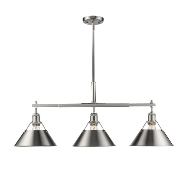 Golden 3306-LP PW-PW Orwell Three Light Linear Pendant