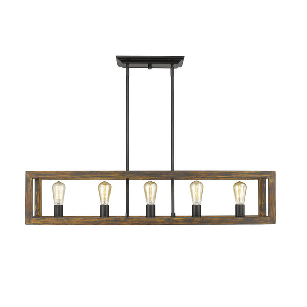 Golden 0270-LP BLK Sutton Five Light Linear Pendant