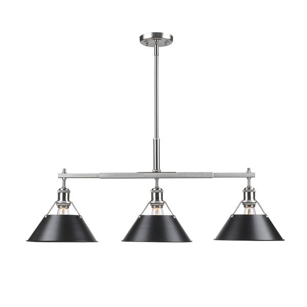 Golden 3306-LP PW-BLK Orwell Three Light Linear Pendant