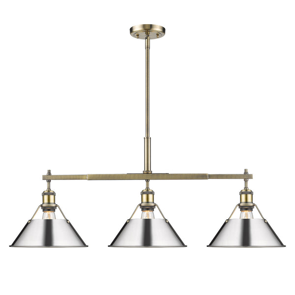 Golden 3306-LP AB-CH Orwell Three Light Linear Pendant